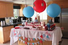 animal crackers, flag banner, & oversized balloons