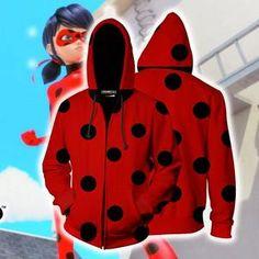 dec4b87b9 Ladybug Cosplay Miraculous Tales Of Ladybug & Cat Noir Zip Up Hoodie Jacket