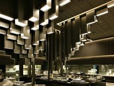 Namus Boutique restaurant design in South Korea, with an impressive sculptural ceiling design, made of acrylic and steel Restaurant Lighting, Restaurant Design, Restaurant Bar, Delicious Restaurant, Design Blog, Cafe Design, Shop Interior Design, Commercial Interiors, Ceiling Design