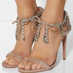 Shoespie Rhinestone Bowtie Dress Sandals