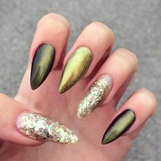 olive green cateye and gold glitter nails by @lollipopzinails
