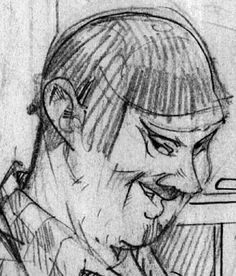 Sneak peek into a coming project: faces, still uncolored, from a new comic work, faraway in time and space #4
