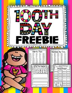 100th Day of School FREEBIE with Math, Writing, and Word Building. Celebrate the 100th Day of School with this fun FREEBIE!  100 Addition…