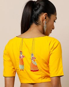 Want to shop trendy blouses with cool embroidery designs on the back? Here are 23 blouses to shop now! Blouse Back Neck Designs, Sari Blouse Designs, Fancy Blouse Designs, Designer Blouse Patterns, Kurta Designs, Blouse Styles, New Embroidery Designs, Embroidery Works, Simple Embroidery