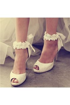 shoespie.com Offers High Quality Shoespie Ankle Appliqued Peep Toe Bridal Shoes ,Priced At Only US$126.09