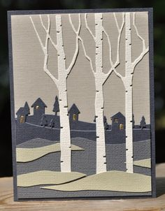 """handmade card"""" Walking Home by Dockside ... winter evening scene created with die cuts ... Memory Box Birches and Memory Box Country Landscape ... hand cut hills ... luv the glitter gold in the tiny window ... a masterpiece!!"""