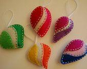 Felt Christmas ornaments.  Gift box Christmas ornaments. Set of 4.. $26.00, via Etsy.