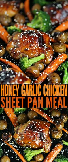 This is the easiest recipe for honey garlic chicken ever. This Honey Garlic Chicken Sheet Pan Meal is complete with sides of carrots, broccoli and baby potatoes. It's full of flavour, quick and easy, and best of all, your family is going to love this recipe.