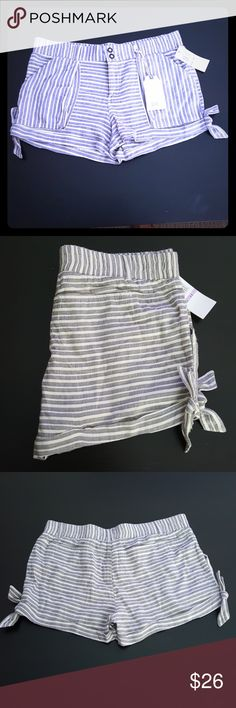 Jolt Gray Striped Shorts Side ties just for looks. Deep front and back pockets. Material is very soft and stretchy. These are Super comfortable. Jolt Shorts Bermudas