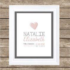 Natalie Elizabeth Baby Girl Nursery Wall Art.