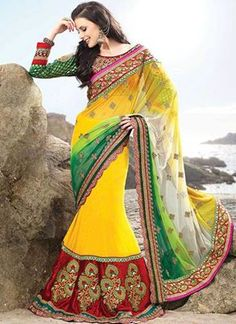 We have wide range of heavy work designer saree. Grab this striking yellow color net lehenga style saree. Indian Bridesmaid Dresses, Indian Dresses, Indian Outfits, Lehenga Style Saree, Lehenga Saree, Anarkali, Indian Attire, Indian Ethnic Wear, Indian Style