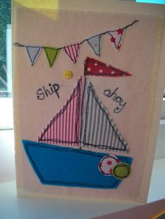 Boys Boat Nautical Birthday Card Handmade by SewSweetbySuzanne, £4.50