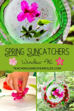 This nature craft for preschoolers is so easy to make and looks beautiful hanging in the window. A fun addition to the gardening theme! #nature #spring #flowers #garden #art #craft #suncatcher #toddlers #preschool #teaching2and3yearolds Early Learning Activities, Nature Activities, Spring Activities, Kids Art Space, Art For Kids, Flowers Garden, Spring Flowers, Color Wars, Spring Books