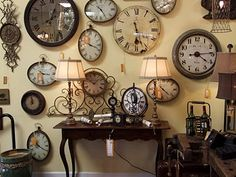 gallery wall of clocks at European Country Living Clock Art, Clock Decor, Wall Decor, Wall Art, Cles Antiques, Traditional Clocks, Tick Tock Clock, Family Room Walls, Wall Groupings