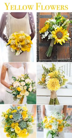 This month we are feeling pretty excited about seeing some more sunshine in our future, so we are . Bright Wedding Flowers, Yellow Wedding, Yellow Flowers, Floral Wedding, Wedding Bouquets, Wedding Themes, Wedding Blog, Dream Wedding, Wedding Tips