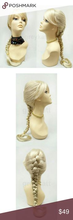 "Blond reverse French braid wig with bangs Light blonde wig featuring an inverted braid and long bangs. Made with synthetic fibers that prevent loss of style even after cleaning. *Not heat resistant, do not use heating tools.  Color: Blonde (613) Length: 17"" inches French Braid Circumference: Default at 21"" with adjustable cap (max 22"") Materials: Synthetic wig fibers  Wig prices are firm. Accessories Hair Accessories"