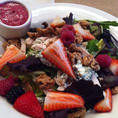 Mixed organic greens, grilled chicken, blue cheese, walnuts, Strawberries, raspberries, blackberries and blackberry vinaigrette.  Unbelievably good!