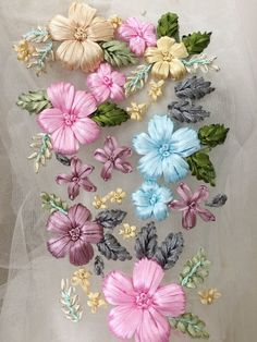 Handmade 3D flower ribbon lace applique in pink green blue dust pink mix color for wedding hair flow