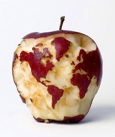 El mundo... en una manzana. ¡Increíble!