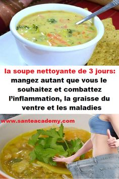 la soupe nettoyante de 3 jours: mangez autant que vous le souhaitez et combattez the cleaning soup of 3 days: eat as much as you wish and fight … – 100 Calories, Healthy Chicken Recipes, Healthy Dinner Recipes, Tea Recipes, Smoothie Recipes, Detox Tips, Detox Soup, Natural Detox, Cucina