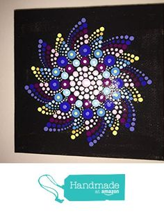"Hand Painted Mandala on Canvas 4"" X 4"" from Mafa Stones http://www.amazon.com...swirling colors radiate in this beautiful mandala!"