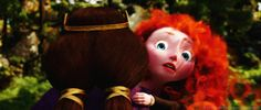 The fear in Merida's face as her dad faces Mor'du