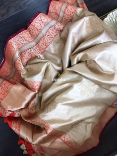 Katan Silk Banarasi- Cream Beige Red Orange – Panache-The Desi Creations Silk Saree Banarasi, Banaras Sarees, Pure Silk Sarees, Pakistani Outfits, Indian Outfits, Indian Clothes, Silk Sarees Online Shopping, Elegant Saree, Saree Styles