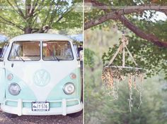Mint and white VW bus and a hanging twinkle light chandelier with lace and twine!  Talk about amazing vintage and ethereal style wedding decorations!  From a rustic wedding at the Elm Bank Horticulture Center in MA.