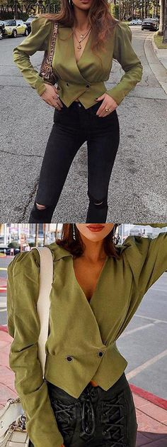 884f01353a4a5a Shop Online for MYNYSTYLE Army Green V-neck Long Sleeve Women Crop Shirt at  $24.99