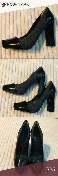 """d43984486576d Tahari Ally Black & Wool Gray pump 3"""" chunk heel Tahari Ally size 8 Black"""