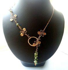 Jasper Gemstone Necklace wire wrapped jewelry handmade wire wrapped Necklace