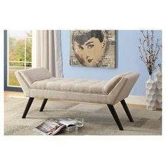 "Tamblin Mid-Century Modern Retro Linen Fabric Upholstered Grid - Tufting 50"" Bench - Beige - Baxton Studio : Target"