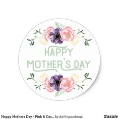Shop Happy Mothers Day - Pink & Cassis Flower Garlands Classic Round Sticker created by darlingandmay. Mother Day Gifts, Happy Mothers Day, Cute Typography, Tea Gifts, Mom Day, Vintage Lettering, Flower Garlands, Round Stickers, Easter Crafts
