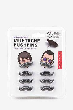 UrbanOutfitters.com > Kikkerland Mustache Pushpin - Set Of 8