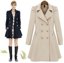 Beige Double Breasted Long Sleeve Trench Pleated Celebrity Coat