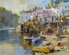 April Morning, Fowey by Chris Forsey, Watercolor Landscape, Landscape Paintings, Watercolor Paintings, Watercolours, Art Folder, Great Paintings, Painting Still Life, Painting & Drawing, Art Gallery