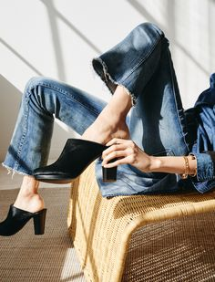 madewell andie clog worn with the cali demi boot jeans.