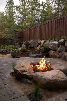 Paver Patio & Gas fire pit in Northwest Bend, Oregon. Paver Patio & Gas fire pit i Fire Pit Backyard, Backyard Patio, Backyard Landscaping, Pergola Patio, Pergola Kits, Landscaping Design, Backyard Seating, Rustic Backyard, Backyard Fireplace