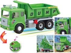 Max  Dump Truck-1) Two doors of the truck's head are easy to open and close, which are freely movable to both side-view mirrors. 2) Friction-powered gear system.(Engine sounds when running.)