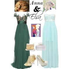 """Anna and Elsa Frozen Prom"" by shannirose on Polyvore"