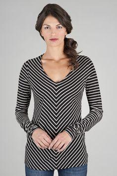 Lilla P -  Stripe Long Sleeve Shirred Cuff V-Neck