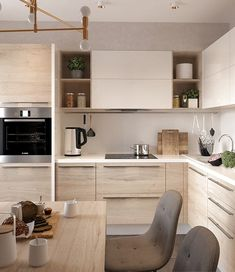 simple and modern style kitchen design for small kitchen decorating ideas or kitchen remodel Kitchen Room Design, Kitchen Cabinet Design, Modern Kitchen Design, Kitchen Layout, Home Decor Kitchen, Interior Design Kitchen, Home Kitchens, Interior Livingroom, Modern Kitchen Cabinets