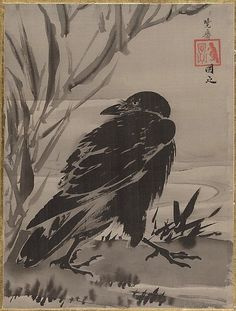 Kawanabe Kyōsai (Japanese, 1831–1889) Crow and Reeds by a Stream ca. 1887 Album leaf; ink and color on silk