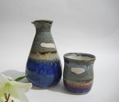 Ceramic Carafe and Beaker Bedside Water Carafe and by ClayismyArt