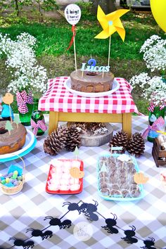 Notice the ant garland Picnic Theme, Picnic Birthday, Garden Picnic, Backyard Picnic, Birthday Celebration, Birthday Party Themes, Party Ideas For Teen Girls, Picnic Party Decorations, Backyard Carnival