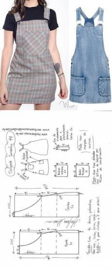 Одноклассники Pattern Cutting, Diy Clothes Patterns, Dress Sewing Patterns, Jumper Patterns, Sewing Clothes, Pattern Dress, Sew Pattern, Denim Jumper, Jumper Dress