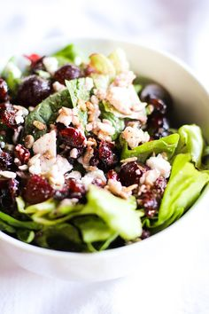 Spinach salad with dried cranberries, sunflower seeds, red grapes, feta cheese, and raspberry vinaigrette. It's an end-of-summer dream! Off.the.chain.!! I was visiting my mom and her companion in c...