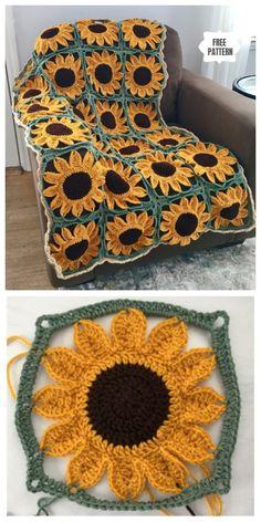 Sunflower Granny Square Blanket Free Crochet Patterns - DIY Magazine yarn how to crochet Sunflower Granny Square Blanket Free Crochet Patterns - DIY Magazine Point Granny Au Crochet, Basic Crochet Stitches, Crochet Basics, Joining Crochet Squares, Crochet Afghans, Free Crochet, Knit Crochet, Free Knitting, Knitting Patterns Free