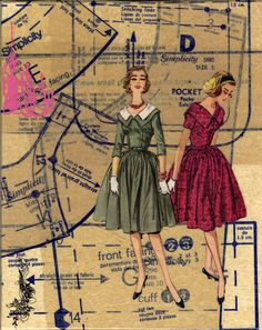 Vintage Sewing Pattern Art: Collage on vintage pattern paper by Karen Ross Smith of Junk in my Trunk.