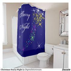 Christmas Starry Night Shower Curtain
